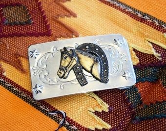 Vintage Western Belt Buckle <> Silver Metal with Brass Horse Head and Horse Shoe <> Cowboy