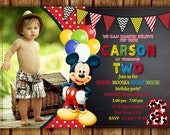 MICKEY MOUSE INVITATION. Mickey Mouse Birthday. Personalized Digital file.  Including photo Personalized.Any age.