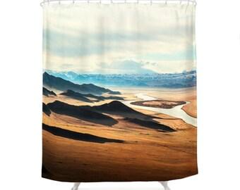 landscape photo shower curtain mountains photography decorative shower curtain nature photo modern