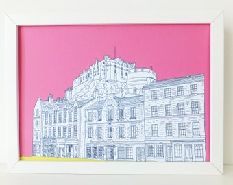 Edinburgh Castle Print, Edinburgh Castle and Grassmarket, Hot Pink art print, art, Picture of Edinburgh, Scotland