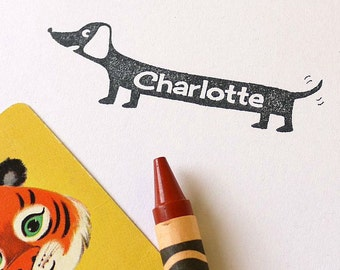Custom Name Rubber Stamp Dachshund Stamper Doxie Sausage Dog Personalised Laser Cut Stamper Kids Custom Stamp Weiner