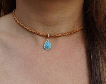 Simple Turquoise Tan Leather Choker