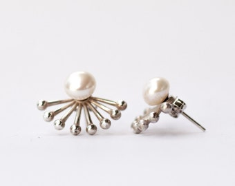 Fresh water pearl and silver ear jacket earrings, silver ball ear jackets, silver 925
