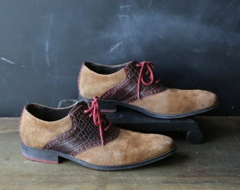 Mens Suede Leather Oxford Shoes By Cole Haan 10 M Unique Design Excellent Quality Vintage From Nowvintage on Etsy