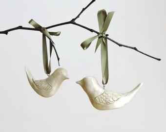 Turtle Dove Ornaments - Bird Christmas Ornaments - Clay Ornaments - Christmas Decorations - Christmas Gifts - Turtle Dove - Christmas Bird