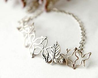 Sterling Silber Blätter Halskette, Silberkette, Silber Halskette