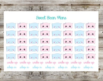 50+ Kawaii Pastel Pillows- Sleep in and Wake Up Planner Stickers