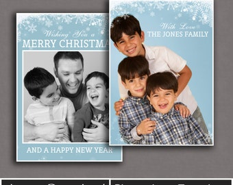 Christmas Card Template, photoshop holiday card templates, instant download, photo card overlays, snowflake photoshop cards, family cards