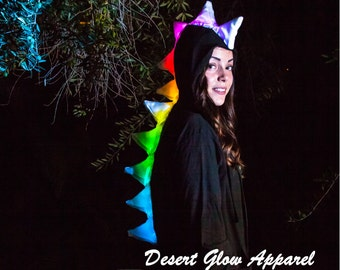 LED Spiked Dino Hoodie Festival Wear