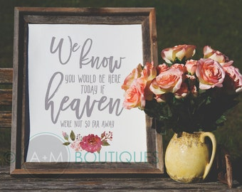 Wedding Sign Signage Instant Printable //  We know you'd be here today if heaven weren't so far away //  Remembrance sign  //  11x14 RED