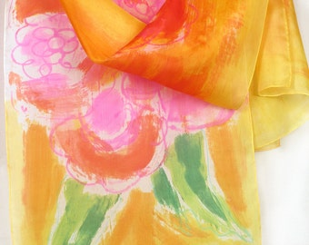 Hand painted silk scarf The Sun Flower/ Bright summer scarf shawl/ Painted Floral silk shawl/ Floral Luxury scarf/ Silk painting by Dimo