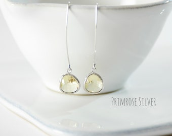 Silver and Primrose Faceted Glass Raindrop Earrings