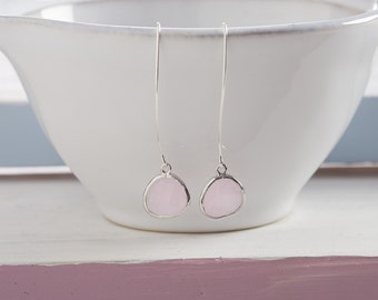 Silver and Soft Pink Faceted Glass Raindrop Earrings