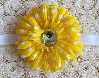 Yellow Polka Dot Headband, Yellow Headband, Infant Headband, Toddler Headband, Girls Headband, Flower Headband, Newborn Headband, Headband