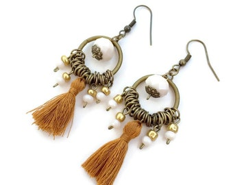 Brown tassel earrings - dangle earrings - beaded earrings - crystal - bohemian, hippie & ibiza style - tassel earrings - earth tones