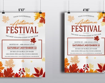 Autumn Festival Flyer Template | Fall Festival Flyer | Photoshop and Elements Template | Instant Download