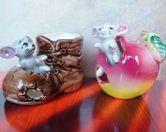 A Pair of Ceramic Mice Toothpick Holders/Figurines: One Mouse in an Apple, the Other in A Boot