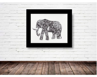 Black and White Elephant - PRINT