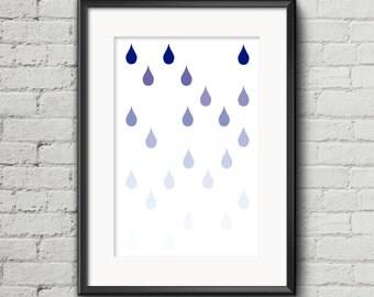 Rain printable poster, blue scale digital design, rain art decoration, wall art rain, blue home decor, printable rain decor, drops of water