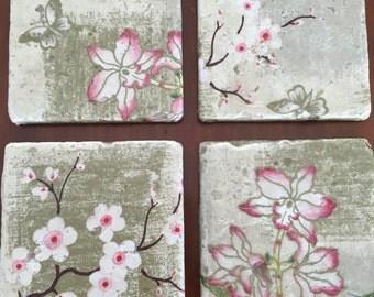 Lotus/Cherry Blossom Design Decorative Tile Costers