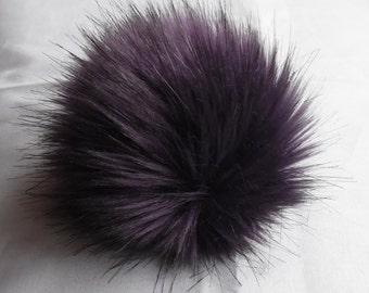 Size M (eggplant) faux fur pom pom 5 inches/ 13cm