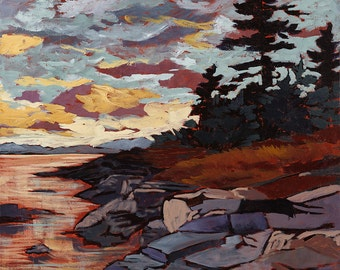 """Algonquin park, Sunset, Skyscape, Interior Design, Fine Art Reproduction, Original Acrylic Painting, Giclee, ontario, 12 x 12"""" to 30 x 30"""""""