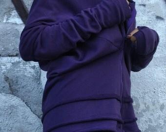 Cotton Sweatshirt/ Ladies fashion blouse/Top with sleeves/Purple sweatshirt/Long Sleeves Women Tunic/ Sweatshirt with zip