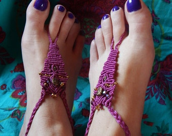 Pair of old macrame Barefoot foot jewelry, pink