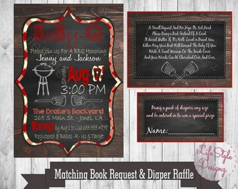 Baby Q Invitation - BBQ Invite-Rustic Baby Shower-Bun In The Oven, Burgers On The Grill, Diaper Raffle, Book Request, Diaper Party-Printable