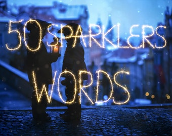 50 Sparklers word overlays, Wedding overlays, Christmas overlays, sparkler overlay, wedding sparklers, sparkler overlays