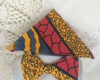 Ankara Men's Bow Tie Handkerchief Set