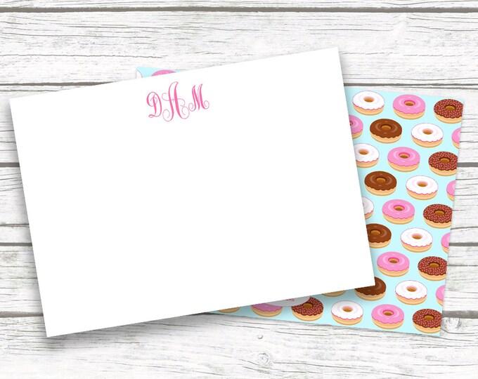 Doughnut Donut Monogram Stationery Note Cards, Aqua Pink Fun Notecards Matching Back, Bridesmaid Gift, Printed Printable Options