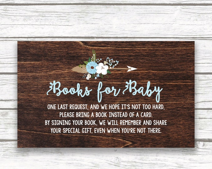 Bring a Book Instead of a Card Baby Shower Invitation Insert, Baby Blue Boy Dark Wood Rustic Antler Boho, Printable Stock Baby's Library
