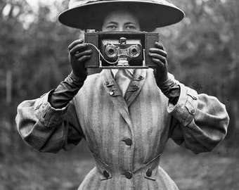 Vintage photo camera woman photographer taking pictures antique photograph 1900s PRINT