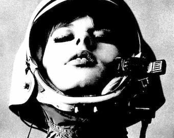 Vintage photo 1960s mod astronaut girl woman wearing helmet pop art poster pop art print pop art photograph helmet PRINT