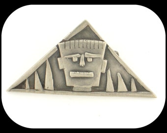 Vintage FACE design sterling silver triangle BROOCH