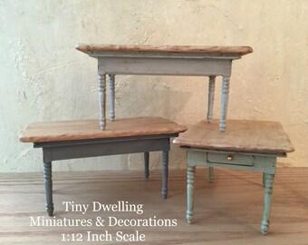 Miniature Farmhouse Table, Dollhouse Kitchen Table, Miniature French County Rustic Table, 1:12 Scale Miniature Dollhouse