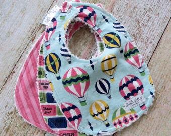 Baby Bibs - Baby Girl Bibs - Hot Air Balloon Bibs - Up Up and Away Bibs - Pink Bibs - Chenille Bibs - Baby Shower Gift