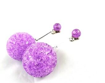 Large Purple Ball Earrings