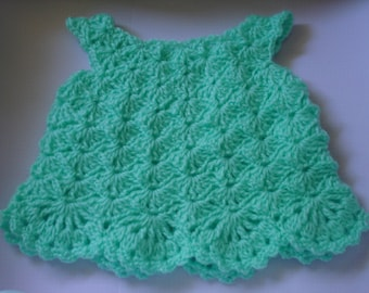 Baby Girl Dress in Green for Newborn  done in 8 ply Acrylic Yarn