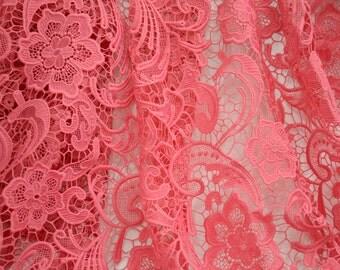 High Quality Guipure lace fabric,Wedding  Embroidered Lace, Bridal lace, Fushia Lace, Fushia Lingerie Lace