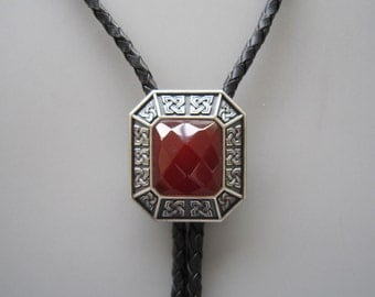 Silver Plated Red Agate Octagon Celtic Western Cowboy Rodeo Bolo Tie