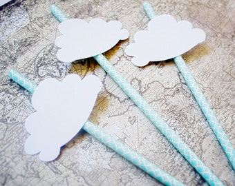 Up Up and Away Baby Shower - Party straws - Paper Straws - Hot Air Balloon Decorations - Rainy Day - Baby Shower Decorations