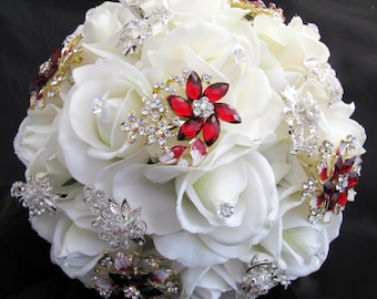 Red Brooch Bouquet Real Touch Roses
