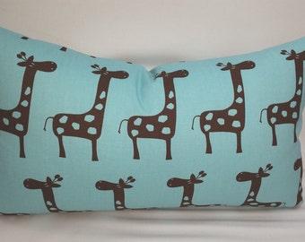 "SALE Kids decorative pillow 18""x 12"" stretch giraffe gizella, aqua blue and brown"
