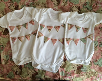 Baby girl onesie / baby grow with bunting design