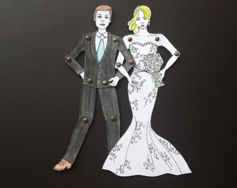 Personalized Couple Paper Dolls custom made for wedding, anniversary, engagement