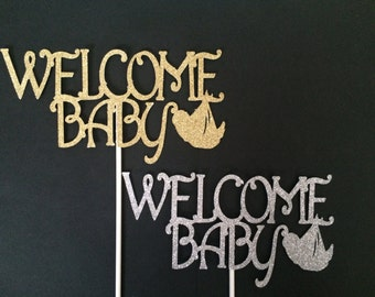 Baby Shower Boy Decorations, Baby Boys,  Baby Shower Decorations, Welcome Baby Cake Topper, 1 CT.