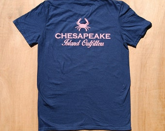 Preppy Crab Shirt | Chesapeake Bay Shirt | Pink Crab on Navy