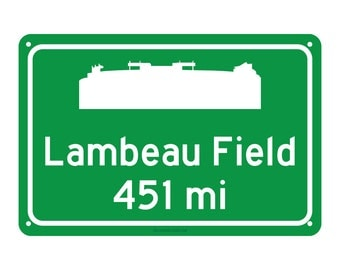 Green Bay Packers - Lambeau Field Road Sign - Customize the Distance